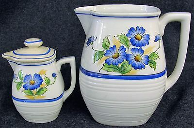 Vintage Matching Pitcher + Creamer - Hand Painted Blue Flowers JAPAN (AB67)
