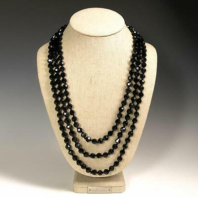 "Classic 72"" Faceted Black Sparkling Crystals Beaded Extra Long Strand Necklace"