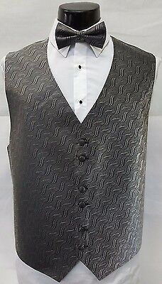 New Mens Silver Grey Black Tuxedo Vest & Bow Tie Formal Wedding Prom Set TUXXMAN