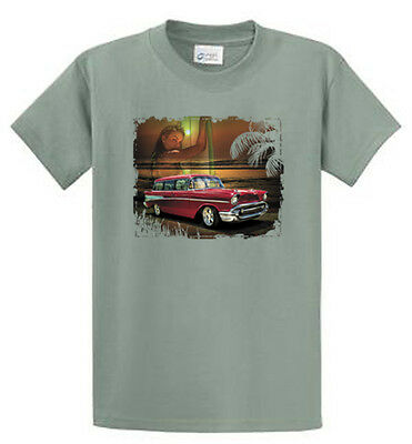 Antique Car On Beach Graphic Tees Mens Regular And Tall Size Port Co