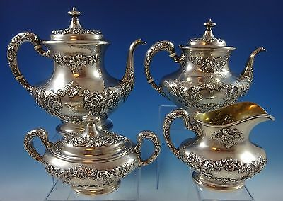 Buttercup By Gorham Sterling Silver Tea Set 4-Pc. Large (#1230) Fabulous!