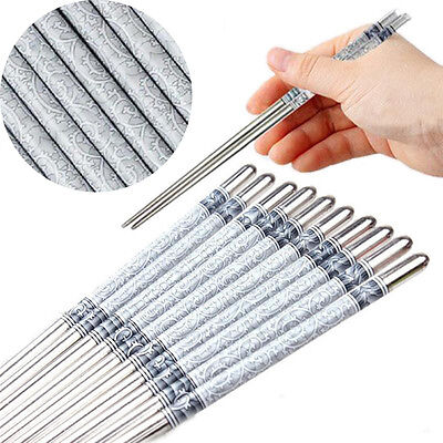 5/10 Pairs Stainless Steel Chopsticks Anti-skip Chop sticks Set Assorted Kitchen