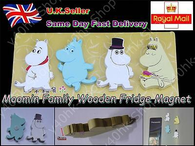 Moomin Family Wooden Fridge Magnet Novelty Cute Fun(Each pack contains 4)