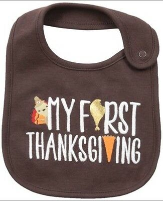 """Carter's Unisex Baby Bib """"My First Thanksgiving"""" One Size NWT"""