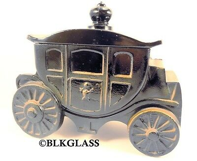 Royal Coach Powder Puff Box Jar Black Glass Princess 1930s Crest Carriage Vanity