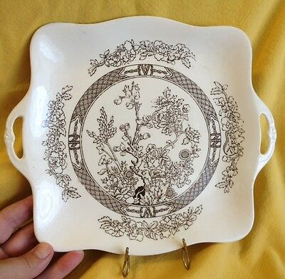 Antique Alfred Meakin India Tree Medina Shape handled square plate  Brown White