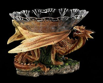 Dragon Figure - Mushu with Fruit bowl - Fantasy Dragon Gothic Table decoration