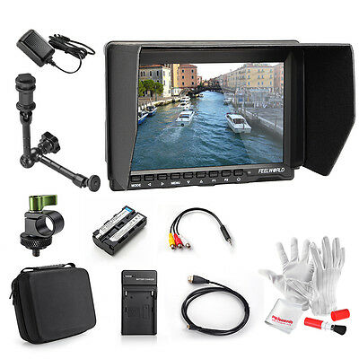 "Feelworld FW759 7"" 1280x800 Field Monitor +AV Cable +Battery Charger +Rod Clamp"