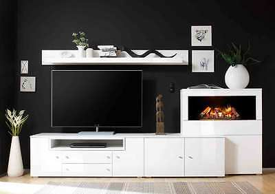 wohnwand anbauwand regalwand wei hochglanz glanz lack kamineinsatz neu 30822 eur. Black Bedroom Furniture Sets. Home Design Ideas