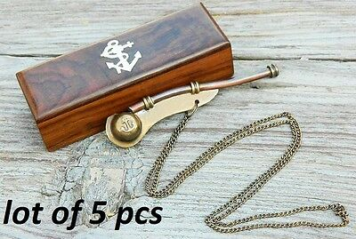 Bosun's Whistle Antiqued Brass Boatswains Pipe with Storage Box LOT OF 5 PCS