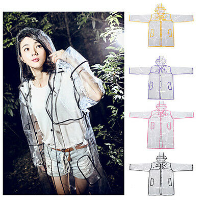 PVC Vinyl Ladies Transparent Clear Rain Coat Mac Raincoat AU Casual Festival