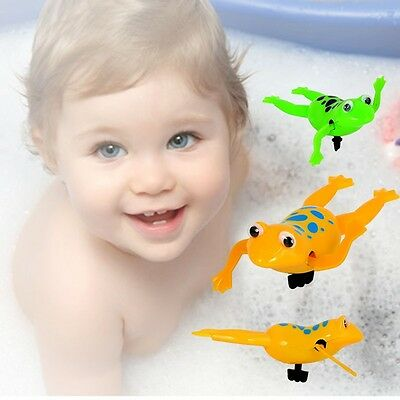2x Lovely Water Swimming Toys Clockwork Wind UP Plastic Bath Frog Baby Kids Gift