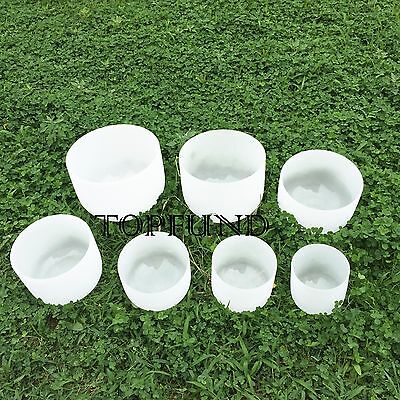 """Perfect Pitch Chakra Tuned Set of 7 Frosted Quartz Crystal Singing Bowls 8""""-10"""""""