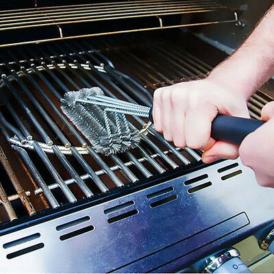 """18"""" Grill BBQ Handle Cleaner 3 Steel Wire Brushes in 1 Head Cleaning Metal Brush"""