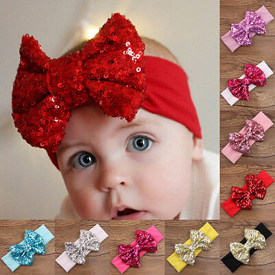 Baby Newborn Girls Hair Band Sequined Bow Headband Turban Knot Hair Accessories