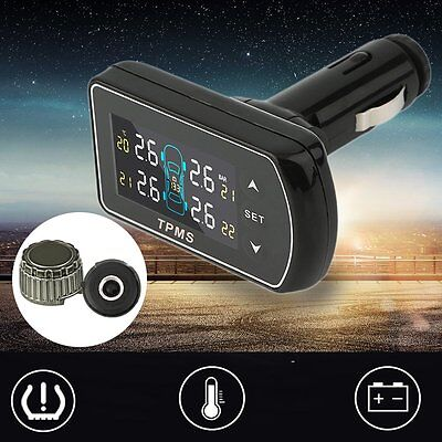 Black Wireless TPMS Tire Pressure Monitor System Adjustable LCD Display MG
