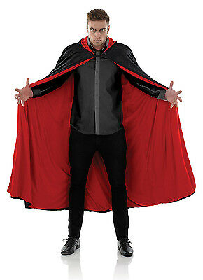 Mens Ladies Vampire Cape Costume Long Black Red Fancy Dress Halloween Outfit