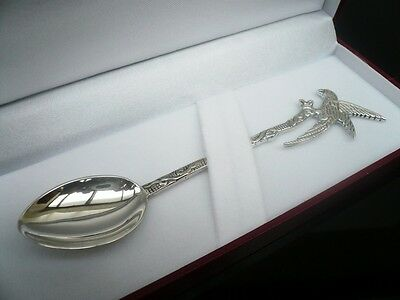 Sterling Silver Christening Spoon PARROT Design, New Born Baby, Hallmarked Gift