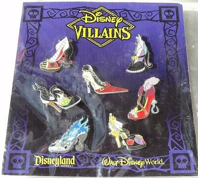 Disney Parks Villains Characters High Heel Style Shoe 7 Pin Booster Pack Set NEW