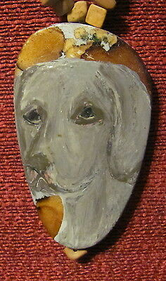 Weimaraner hand painted on oblong pendant/bead/necklace