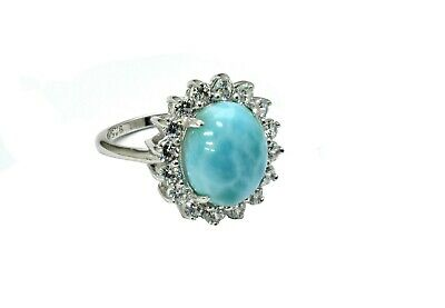 Larimar Beautiful 10X12mm  Natural Solid .925 Sterling Silver Ring Size 7