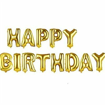 """New Arrival 14"""" 13pcs Letter Foil Balloons Party Decoration Gold Happy Birthday"""