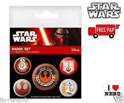 Star Wars - The Force Awakens Badges - Set of 5 - NEW & SEALED - FREE P&P