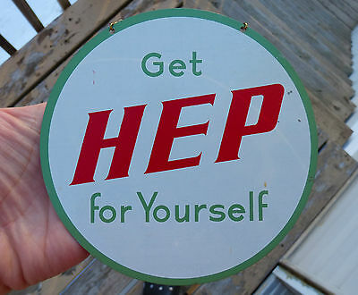 1940's Canadian HEP lemon-lime soda advertising hanger tin sign FREE SHIPPING!