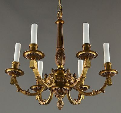 Gilded Heavy Cast Bronze Chandleier c1930 Vintage Antique Ornate Gold French
