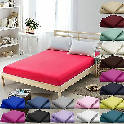 """100%Egyptian Cotton 16""""/40CM Deep Fitted Bed Sheets Twin,Queen,King."""