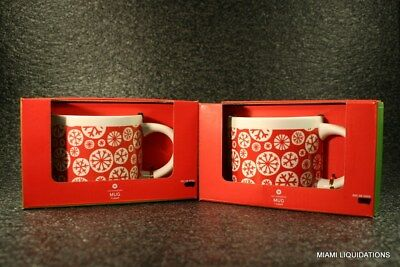 """Lot of 2 Target Ceramic Mugs Snowflakes 3 1/4""""H x 4""""D  Holiday Xmas Red/White"""