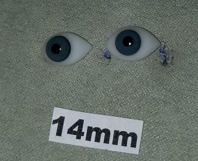 14FBLA Flat Pinched Blown Glass German French Doll Eyes Blue 14mm 14 mm 1 Pair