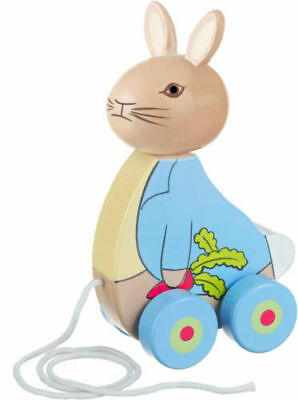 Peter Rabbit wooden pull along toy christening baby gift first 1st birthday new