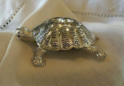 Christofle Lumiere Collection Silverplate Turtle Black Onyx Eyes Figurine Signed