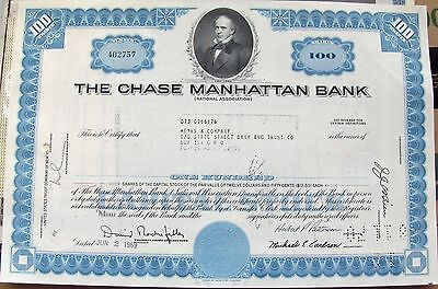 Stock certificate Chase Manhattan Bank.  100 shares 1960's  New York