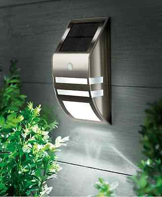Black Nickel White LED Solar Wall Light Security with Motion Sensor Garden Path