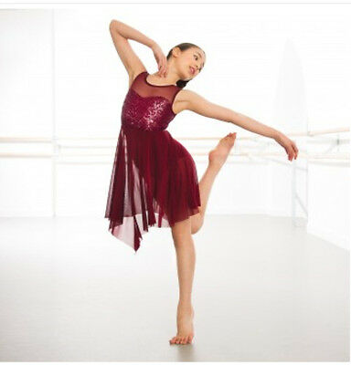 In Stock Burgundy Feature Tank Top Sequin Short Lyrical Contemporary Dress Dance