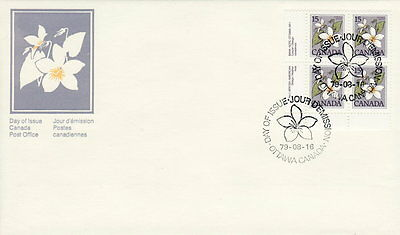 Canada #787 15¢ Floral Definitive Ll Plate Block First Day Cover