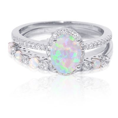 Oval White Fire Opal Thin Simulated Diamond Engagement Sterling Silver Ring Set