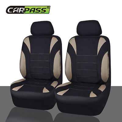 Universal NEOPRENE Two Front Car Seat Covers Set  Black/Grey Airbag Fit Washable