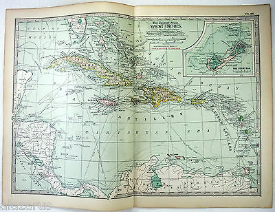 Original 1902 Map of The West Indies - A Nicely Detailed Color Lithograph