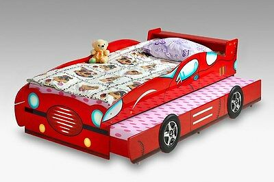 Racing Car Bed for boy, girl and kids with trundle - Red