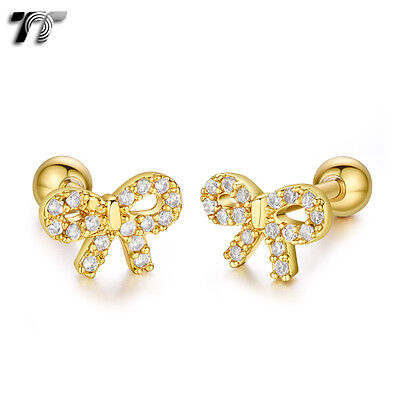 TT Gold Surgical Steel Bow Cartilage Tragus Earrings (TR42J) NEW