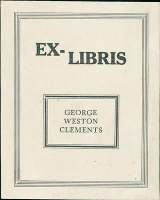 'George Weston Clements'  Bookplate  (JC.134)