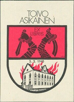 'Toivo Asikainen'  1940 Church Fire War Bookplate  (JC.150)