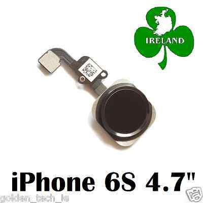 """For iPhone 6S 4.7"""" Home Button Fingerprint Touch ID Flex Replacement New Black"""