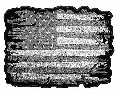 Patriotic Subdued Gray, Silver Distressed American Flag Embroidered Biker Patch