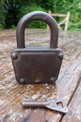 Antique / Vintage Padlock with one working key. Love bridge padlock.
