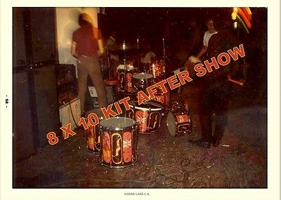 THE WHO KEITH MOON DRUM KIT AFTER SHOW USA  5x7 PICTURES OF LILLY KIT