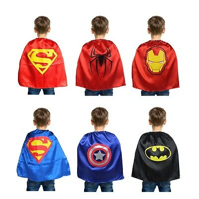Kids Superhero Super Hero Cape & Mask Party Costume Fancy Dress